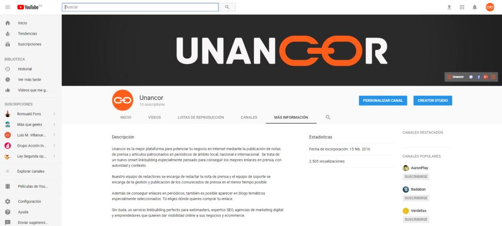 optimizar canal youtube