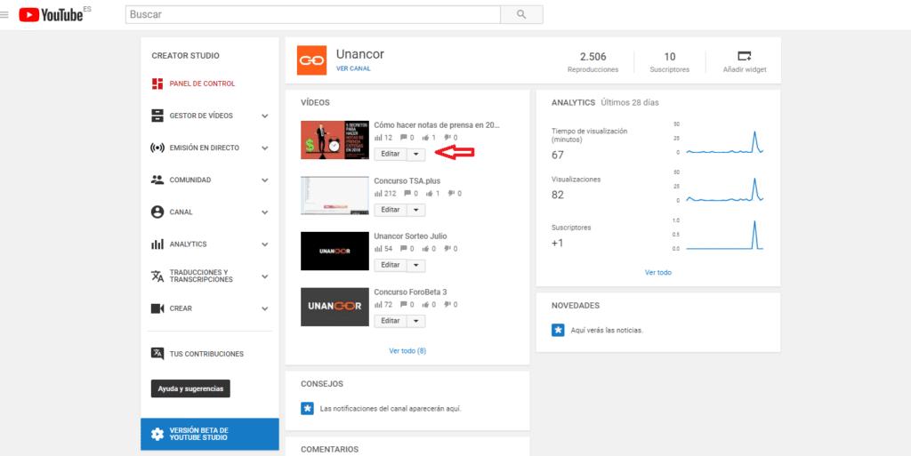 cambiar imagen miniatura youtube