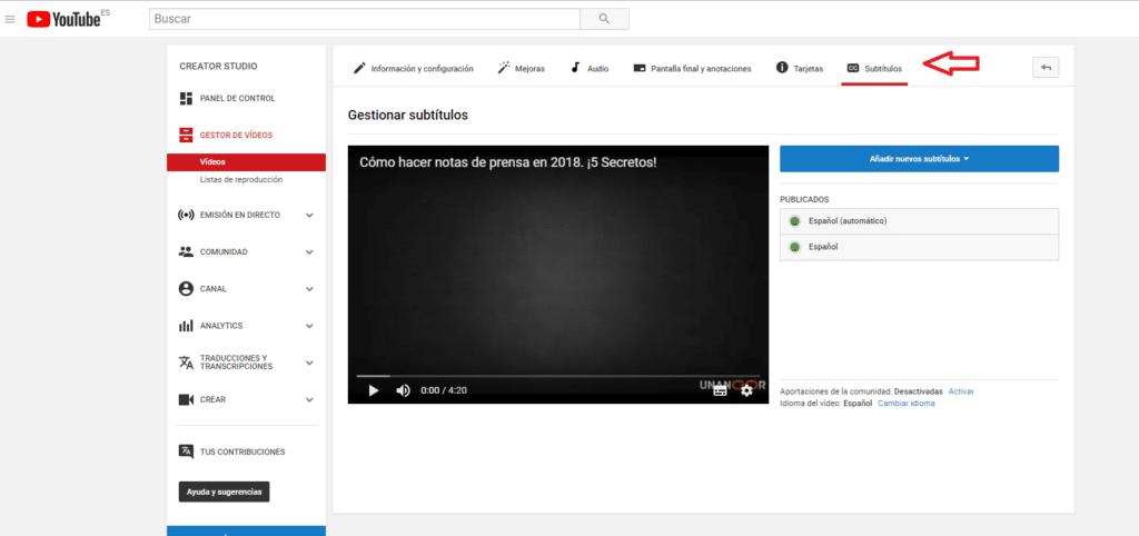 subtitulos video youtube