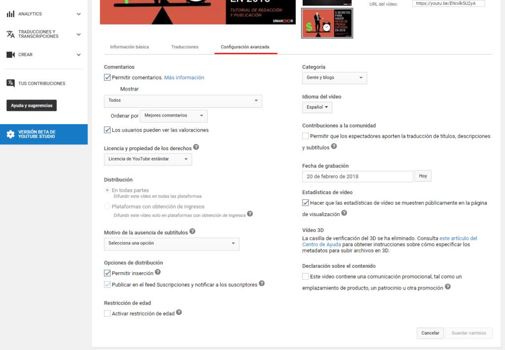 optimizar video en youtube